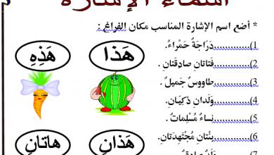صورة تدريبات على اسماء الاشارة فى اللغة العربية للصف الثانى الابتدائى الترم الاول