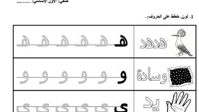 صورة مجموعة حروف الهجاء فى أوراق عمل فى اللغة العربية للصف الاول الابتدائى الترم الاول