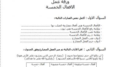 صورة ورقة عمل عن درس الأفعال الخمسة في اللغة العربية للصف السابع