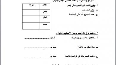 صورة امتحان تحديد مستوى لمادة اللغة العربية للصف الخامس