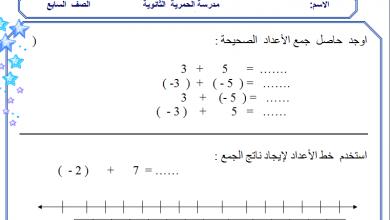 صورة ورقة عمل درس جمع الأعداد الصحيحة في الرياضيات للصف السابع الفصل الثاني