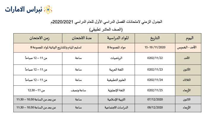 جدول الصف العاشر تطبيقي
