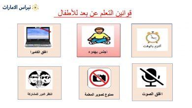 صورة بطاقات وقوانين التعليم عن بعد للأطفال